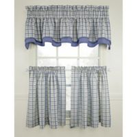 Bristol Plaid 24-Inch Window Curtain Tier Pair in Blue