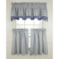 Bristol Plaid 45-Inch Window Curtain Tier Pair in Blue