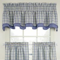 Bristol Plaid Double Valance in Blue