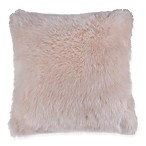 Fluffy Faux Fur Square Throw Pillow in Blush