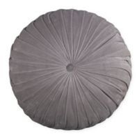 Velvet Tufted Round Throw Pillow in Grey