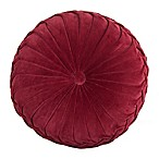 Velvet Tufted Round Throw Pillow in Red