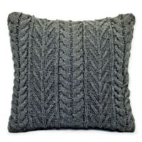 Sweater Knit Square Throw Pillow in Grey