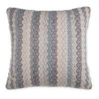 Rustic Chevron Square Throw Pillow in Blue