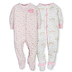 Gerber® Size 0-3M 2-Pack Princess Footies in Pink