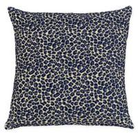 Cheetah Jacquard Square Throw Pillow in Navy