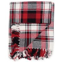 Fireside Plaid Cotton Throw Blanket in Red