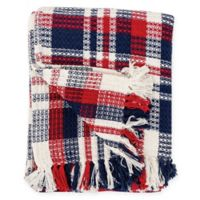 Harbor Plaid Cotton Throw Blanket in Red/Blue