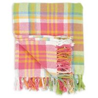 Plaid Palm Throw Blanket in Pink