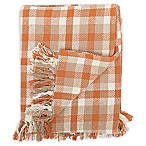 Dunmore Plaid Throw Blanket in Orange