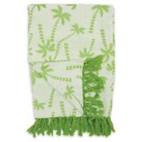Chenille Palm Trees Throw Blanket in Green