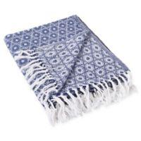 Mandala Circles Fringe Throw Blanket in Blue