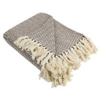 Mini Chevron Fringe Throw Blanket in Brown