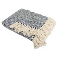 Mini Chevron Fringe Throw Blanket in Blue