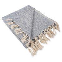 Variegated Fringe Throw Blanket in Blue