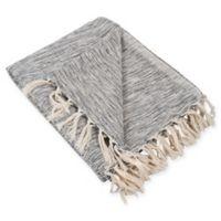 Variegated Fringe Throw Blanket in Black