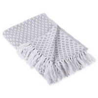 Mini Diamond Fringe Throw Blanket in Grey