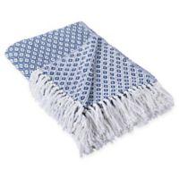 Mini Diamond Fringe Throw Blanket in Blue