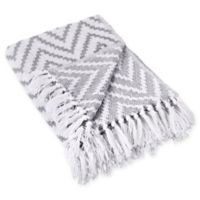 Chevron Fringe Throw Blanket in Grey
