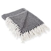 Woven Stripe Throw Blanket in Black