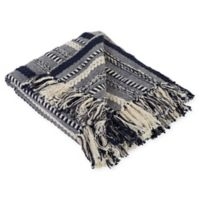 Braided Stripe Throw Blanket in Navy