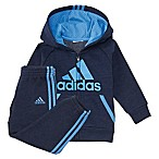 adidas® Size 3M 2-Piece Poly Fleece Hooded Jacket and Pant Set in Blue/Black