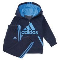 adidas® Size 24M 2-Piece Poly Fleece Hooded Jacket and Pant Set in Blue/Black