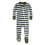 Burt's Bees Baby® Size 6-9M Two Tone Stripe Footie in Green/Blue