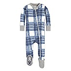 Burt's Bees Baby® Size 12M Wide Buffalo Check Footie in Blue