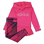 adidas® Size 3M 2-Piece Melange Hooded Top and Legging Set in Magenta