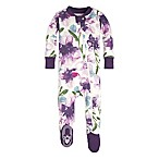 Burt's Bees Baby® Size 6-9M Organic Cotton Watercolor Daylily Footie in Purple