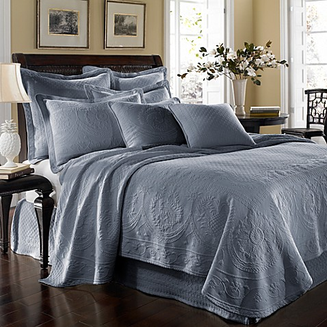 King Charles Matelasse Queen Coverlet in Powder Blue