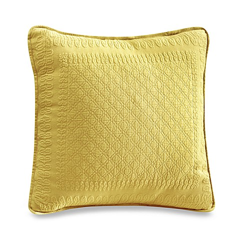 King Charles Matelasse 18-Inch Square Pillow in Sunshine