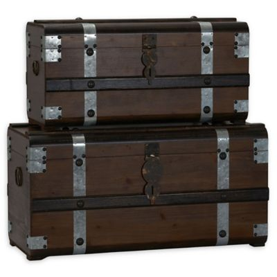 Household Essentials® Steel Band Wood Storage Trunks (Set of 2)  sc 1 st  Bed Bath u0026 Beyond & Buy Wood Toy Storage from Bed Bath u0026 Beyond