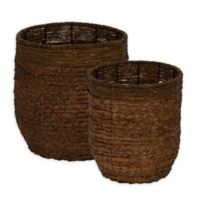 Household Essentials® Rimmed Blended-Weave Wicker Baskets (Set of 2)