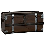 Household Essentials® Steel Band Large Wooden Storage Trunk