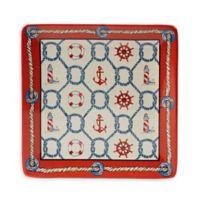 Certified International Coastal Life Dinner Plate in Red/Blue (Set of 4)