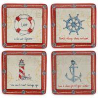 Certified International Coastal Life Dessert Plate in Red/Blue (Set of 4)