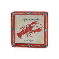 Certified International Coastal Life Lobster Dessert Plate in Red/Blue (Set of 4)