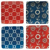 Certified International Coastal Life Canape Plate in Red/Blue (Set of 4)
