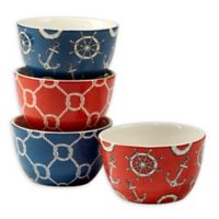 Certified International Coastal Life Ice Cream Bowl in Red/Blue (Set of 4)
