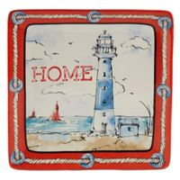 Certified International Coastal Life Square Platter in Red/Blue