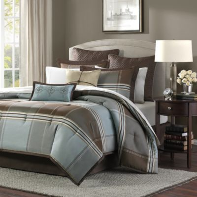 Lincoln Square 8 Piece California King Comforter Set. Buy Brown and Blue Comforter Sets from Bed Bath   Beyond