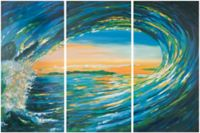 Safavieh Blue Grotto Triptych 18-Inch x 36-Inch Canvas Wall Art (Set of 3)