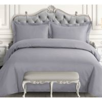 Tribeca Living 600-Thread-Count Queen Duvet Cover Set in Silver Grey