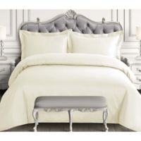 Tribeca Living 600-Thread-Count Queen Duvet Cover Set in Ivory