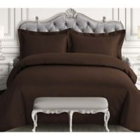 Tribeca Living 600-Thread-Count Queen Duvet Cover Set in Chocolate