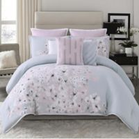 Vince Camuto® Esti Floral Reversible Full/Queen Duvet Cover Set in Grey/Neutral