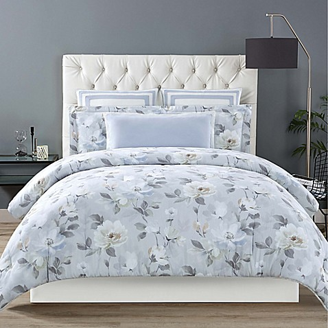 image of Christian Siriano Soft Floral Comforter Set in Grey