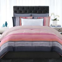 Christian Siriano Sunset Stripe King Duvet Cover Set in Magenta/Grey